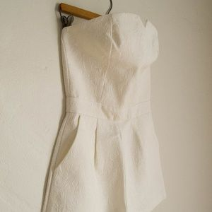 White Embossed Shorts Jumpsuit